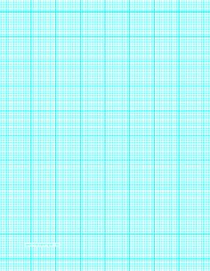 This letter-sized graph paper has ten aqua blue lines every inch plus heavy index lines every inch. Free to download and print