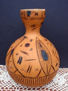 Vintage 40's Hand Carved Water Jug Peruvian by TheMadSquirrel, $38.65