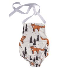 Perfect for the Summer Heat! This halter-neck style romper is the ideal outfit for these hot summer days. Made from lightweight silky soft fabric and styling the latest cute fox print. Available in sizes to fit from newborn to 12 months. Summer Heat, Summer Days, Fox Baby Clothes, Month Labels, Fox Print, Cute Fox, Halter Neck, Simple Dresses, Soft Fabrics