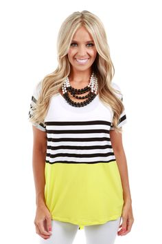 Lime lush boutique yellow top with stripes 28 99 http www
