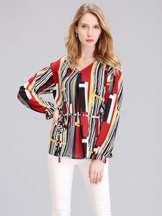 Casual Women Printing V-Neck Long Sleeve Chiffon Blouse