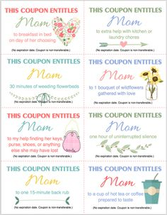 Free Printable Coupon Booklet for Mother's Day from www.flandersfamily.info
