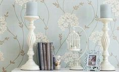blue and white Duck Egg Blue Wallpaper Laura Ashley, Country Cottage Interiors, Interior Decorating, Interior Design, Decorating Ideas, Wall Lights, Ceiling Lights, Blue Wallpapers, My New Room