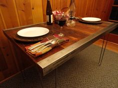 6 ft Industrial Dining Table with raw steel by MtHoodWoodWorks $765.22 CAD