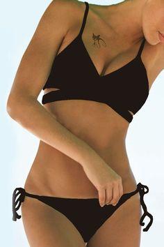 Sexy Women s Spaghetti Strap Black Bikini Set