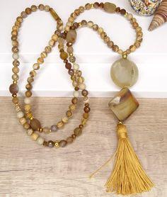 Collar en Piedras naturales - Vithrashop Tassel Necklace, Boho, Tassels, Etsy, Roots, Jewelry, Fashion, Collares Largos, Stones And Crystals