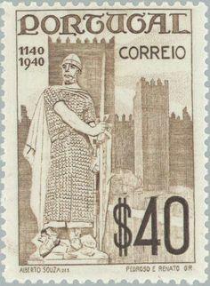 Stamp: King Alfonso Henriques (c. 1110-1185), statue (Portugal) (Exhibition Mundo Português) Mi:PT 618,Sn:PT 591,Yt:PT 612,Sg:PT 916,AFA:PT 612,Afi:PT 595