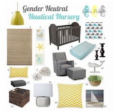 Beautiful gender neutral nautical nursery. I'd add a bit more orange but it's a great place to start :)