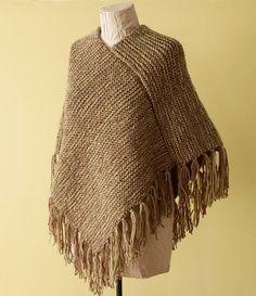 Loom Knit Kit - Fringed Poncho - Lion Brand Yarn