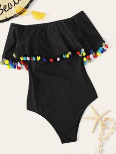 Romwe Sport Black Pom Pom Trim Flounce One Piece Swimsuit Women Summer Off The Shoulder Monokinis Wire Free Casual Swimwear Source by mythgardent de baño para gorditas Cute Swimsuits, Women Swimsuits, One Piece Swimwear, One Piece Swimsuit, Bandeau Swimsuit, Nylons, Metallic Swimsuit, Overall Shorts, Girls Bathing Suits