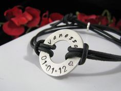 Sterling Silver Hand Stamped Adjustable Leather by auctionprincess, $36.00