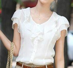 Women's Summer 2015 Plus Size Women Clothing Short Sleeve Ruffle Blouse Female Chiffon Blouse White And Black Chiffon Shirt, Ruffle Blouse, Plus Size Womens Clothing, Clothes For Women, Leotard Fashion, Beautiful Blouses, Casual Shirts, Womens Fashion, Style