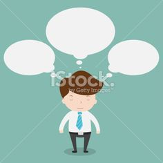 Businessman thinking with bubble talk. Royalty Free Stock Vector Art Illustration