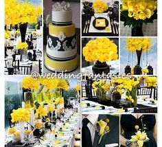 Yellow, black, and white wedding inspiration. Loving the pop of color with the black and white!
