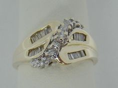 14K YELLOW GOLD DIAMOND BAGUETTE CLUSTER COCKTAIL RING .50 CTTW 6.1g SIZE 9.5 #Cluster