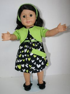 American Girl Doll Clothes  Green Heart Dress by KathiesDollCloset, $10.99