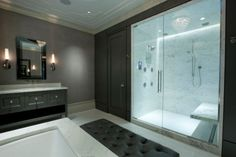 2016 Home Decorating & Design Trends: Steam Showers & Bathrooms look like a living space.