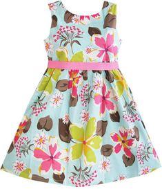 Sunny Fashion Girls Dress Fox Squirrel Bird Mushroom Print Striped Size 7-14