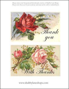FREE printable vintage postcard/thank you notes