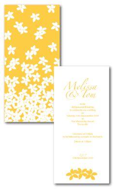frangipani wedding invitations yellow