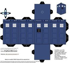 Doctor Who Tardis paper craft. Hubbs is going camping this weekend, looks like I'll be busy too :)