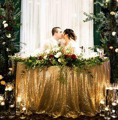 Gold and burgundy wedding sweetheart table. Gold and burgundy wedding sweetheart table. Bridal Party Tables, Head Table Wedding, Wedding Reception, Flower Bouquet Wedding, Rose Wedding, Wedding Gold, Bridal Bouquets, Farm Wedding, Burgandy And Gold Wedding