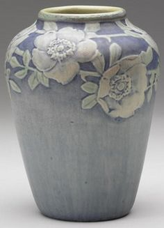 pottery & porcelain, Louisiana, A Newcomb College [pottery], Henrietta Bailey vase carved with [white] roses, 1921. HB/NC/JM/LR47/147.