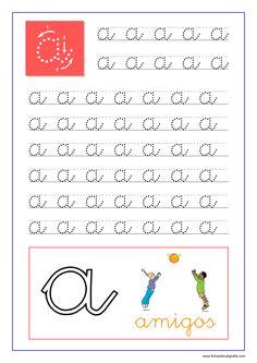 Caligrafía de las vocales en pdf para imprimir | Fichas de Caligrafía Pre Writing, Kids Writing, Cursive Small Letters, Arabic Alphabet For Kids, Spanish Teaching Resources, English Lessons For Kids, Unicorn Drawing, Study Materials, Baby Play