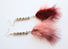 Burgundy & Rose Feather Earrings- With Love and Peace engraved into silver acrylic beads. £6.00, via Etsy.