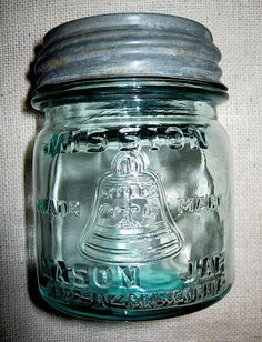 Old 1/2 Pint Blue Mission Mason Jar With Bell/Zinc Lid-California-Hard To Find