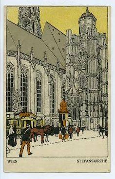 """Postkarte Nr. 7 Untertitel:WIEN STEFANSKIRCHE"""" Rückseitenfarbe:grün Inventar:WWPK 991-1     Entwurf:Urban Janke Signatur:nicht signiert     Land:Österreich Stadt:Wien Datum: 1910"""