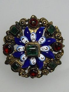 SMALL  VICTORIAN AUSTRO HUNGARIAN 800 SILVER GILT ENAMEL EMERALD & RUBY BROOCH  | eBay Art Nouveau Jewelry, Jewelry Art, Jewellery, Unique Diamond Rings, Austro Hungarian, Victorian Era, Natural Diamonds, Diamond Pendant, Emerald