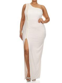 Plus Size Enticing One Shoulder Side Zipper White Maxi Dress, Plus Size Clothing, Club Wear, Dresses, Tops, Sexy Trendy Plus Size Women Clothes