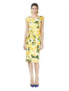 Oscar's CAP SLEEVE AZALEA PRINT SLIM DRESS, $1,890.00 -- Lemon Candy! Go to your nearest sewing shop and get creative with these looks!