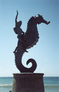 "The boy on his seahorse statue. Rafael Zamarripa's ""Caballeo del Mar"" or ""The Seahorse"" has been the symbol of the city of Puerto Vallarta, Mexico for decades. It is certainly most of the most loved, admired and photographed of all sculptures along the downtown Malecon and has been in place since 1976, the first public work of art to appear in the city. gay vallarta downtown attractions"