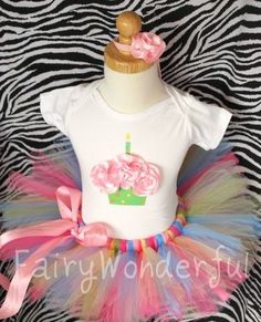 CUSTOM MADE TO ORDER.............8 INCH LENGTH................SEWN Funfetti BIRTHDAY tutu with FREE Flower Headband NB 6M 12M 18M 2T 3T 4T 5T