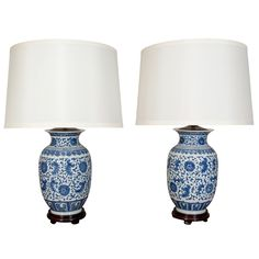 1stdibs | Pair Of Blue And White Porcelain Chinese Ginger Jar Lamps