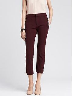PURCHASED ON SALE Sloan-Fit Faux-Leather Trim Ankle Pant | Banana Republic
