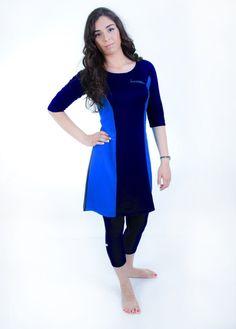 Modest Swim Tunic - Blue & Navy Blue