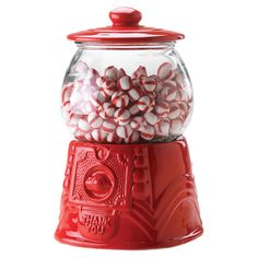 This is such a cute idea. Put peppermints in our antique gum ball machine at Christmas time:-)