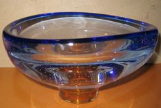 Kosta Boda Glass Blue Bowl