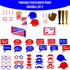 ♥ This set of Photobooth props has 20 pages and includes:  7 Glasses  2 Hats  2 Helmets  5 Lips  10 Mustaches  12 Speech Bubble Signs  2 Pennants  3 Bats  1 Glove  6 Baseballs  1 Pack of Peanuts  1 Box of Cracker Jacks  1 Table Sign  and instructions