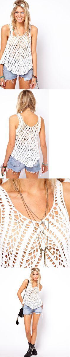 Crochet Vila torcida balanço Regata. Feita em 100% algodão puro. Crochet projeto malha com uma mão macia sentir. Colher decote e nas costas. Forma balanço solto.