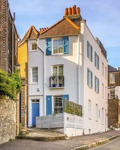 """A Lady in London on Instagram: """"I'm back in London after two weeks away, and it's good to be home. 💙"""" Hampstead House, Hampstead Heath, Hampstead London, Best Places In London, Blue Shutters, London Architecture, London Photography, London Life, London Travel"""