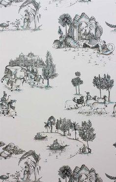 Zanskar Wallpaper in Black and White by Matthew Williamson for Osborne & Little