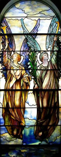 First Presbyterian Church, Lockport 21 Church Street, Lockport. NY 14094 Two angels with trumpets. Designed by Tiffany Studios