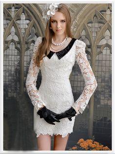 Morpheus Boutique  - White Flora Lace Long Sleeve Black Collar Pencil Hem Dress