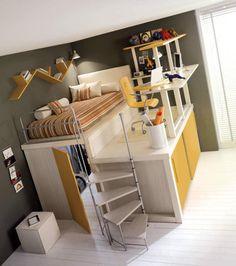 Essa uma das formas de fazer um pequeno espaço ficar do seu jeito, a cama, guarda roupa e a mesa de estudos juntos, mesmo com o quarto pequeno não abriu mão de nada!