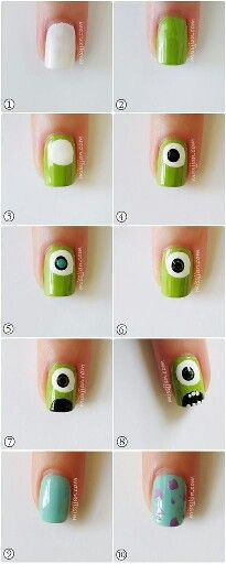 monster inc nails Trendy Nail Art, Cute Nail Art, Nail Art Diy, Easy Nail Art, Diy Nails, Nail Art Tools, Monster University Nails, Monster Inc Nails, Disney Nail Designs