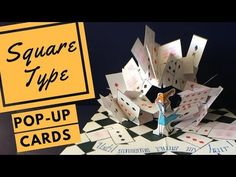 """How to make big pop-ups. How to make a multi-angled pop-up card using the pyramid stand. Example shown is a deck of cards attacking Alice captioned, """"It's al. 3d Cards, Pop Up Cards, Kirigami, Origami I Love You, Pop Up Flower Cards, Origami Templates, Box Templates, Paper Pop, Mini Album Tutorial"""